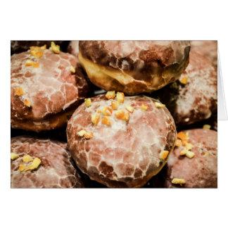 Scrumptious Nutty Glazed Donuts Greeting Card