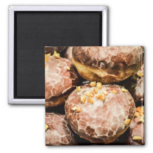 Scrumptious Nutty Glazed Donuts Refrigerator Magnet