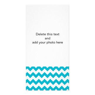Scuba Blue White Chevron Pattern Personalized Photo Card