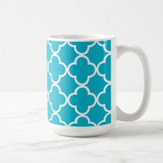 Scuba Blue White Quatrefoil Moroccan Pattern Coffee Mug