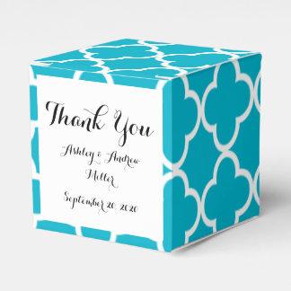 Scuba Blue White Quatrefoil Moroccan Pattern Favour Box