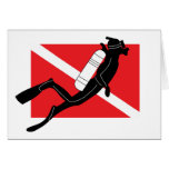 SCUBA Dive Flag With Male SCUBA Diver Greeting Card