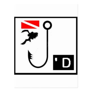 Scuba Dive Hooked Postcard