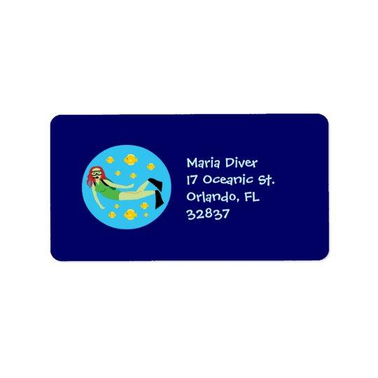 Scuba Diver Address Label