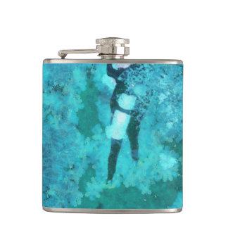 Scuba diver and bubbles hip flask