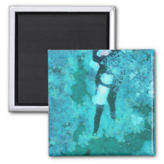 Scuba diver and bubbles magnet