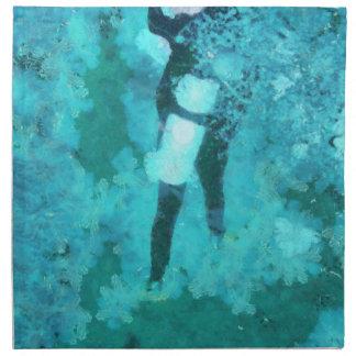 Scuba diver and bubbles napkin