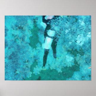 Scuba diver and bubbles poster
