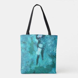 Scuba diver and bubbles tote bag
