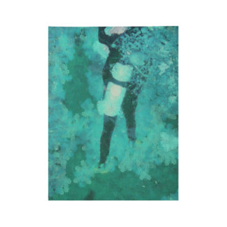 Scuba diver and bubbles wood poster
