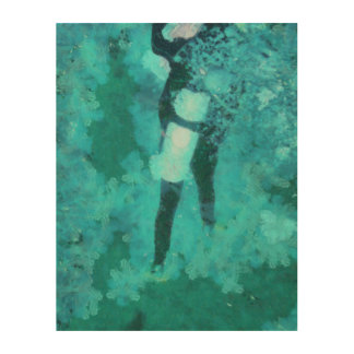 Scuba diver and bubbles wood wall art