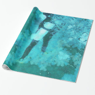 Scuba diver and bubbles wrapping paper