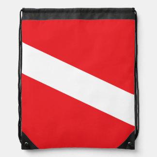 Scuba Diver Dive Flag Drawstring Bag
