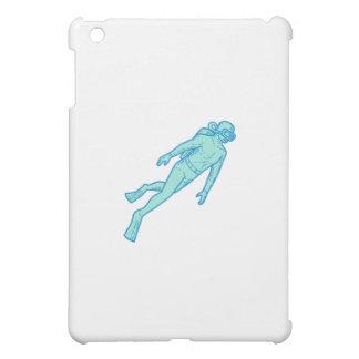 Scuba Diver Diving Mono Line iPad Mini Cases