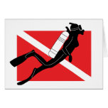 SCUBA Diver Down Flag With Female Diver Greeting Cards