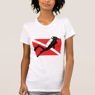 SCUBA Diver Down Flag With Female Diver Shirts