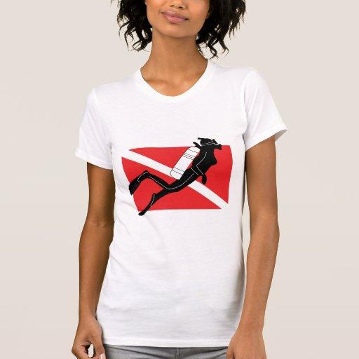 SCUBA Diver Down Flag With Female Diver Shirts