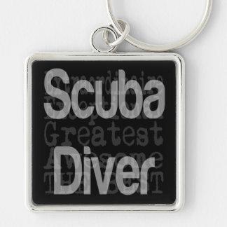 Scuba Diver Extraordinaire Silver-Colored Square Key Ring