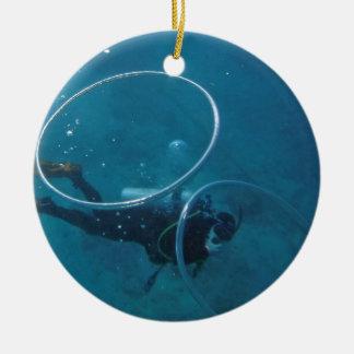 Scuba Diver Round Ceramic Decoration
