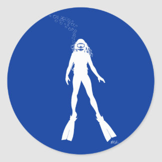 Scuba Diver Silhouette (Woman) Classic Round Sticker