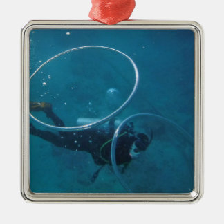 Scuba Diver Silver-Colored Square Decoration