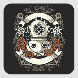 Scuba Diver Square Sticker