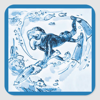 scuba diver swimming with harpoon funny cartoon square sticker