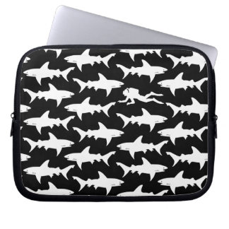 Scuba Diver Swimming with School of Sharks Laptop Sleeve