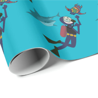 SCUBA DIVER SWIMMING WITH SHARKS AND TURTLE WRAPPING PAPER