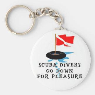 Scuba Divers Go Down For Pleasure Basic Round Button Key Ring
