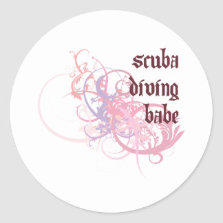 Scuba Diving Babe Round Sticker