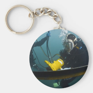Scuba Diving Basic Round Button Key Ring
