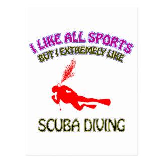 Scuba diving designs postcard