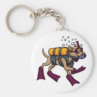 Scuba Diving Dog Keychain