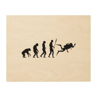 scuba diving evolution wood canvases