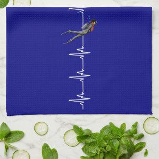 SCUBA Diving Heartbeat Tea Towel