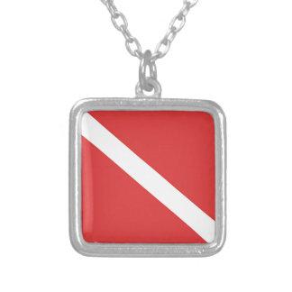 Scuba Diving Logo- Diver's Red White Flag Square Pendant Necklace