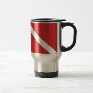 Scuba Diving Logo- Diver's Red White Flag Travel Mug