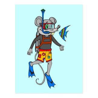 Scuba Diving Mouse Post Cards