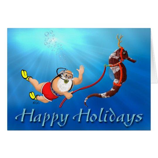 Scuba Diving Santa & Seahorse Happy Holidays Card