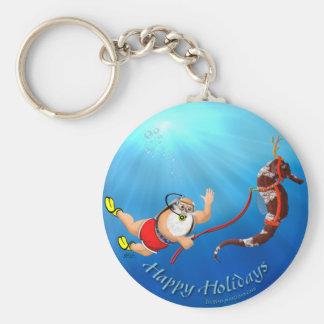 Scuba Diving Santa & Seahorse Keychain