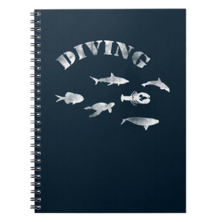 Scuba Diving, Swimming Fishes. Sea Life, Fish Notebooks