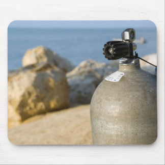 Scuba Diving Tank on Beach Mouse Pad