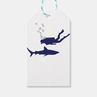 scuba diving with sharks gift tags