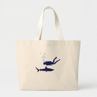 scuba diving with sharks large tote bag