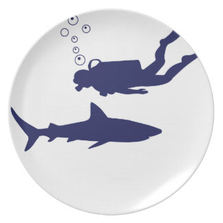 scuba diving with sharks plate