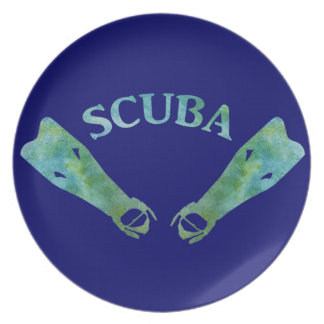 SCUBA Fins Party Plates
