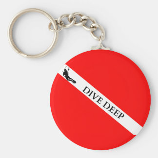 Scuba Flag (Dive Deep) Basic Round Button Key Ring