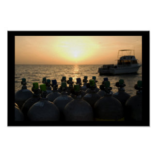 Scuba Tanks and Dive Boat at Sunrise Poster