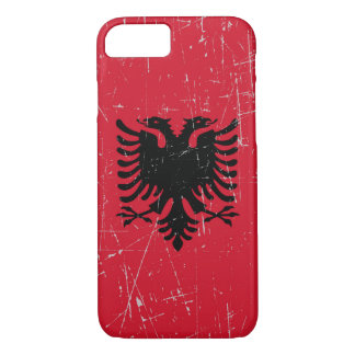 Scuffed and Scratched Albanian Flag iPhone 7 Case